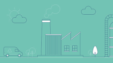 Illustration of renewable energy sources powering a business premises and vehicle