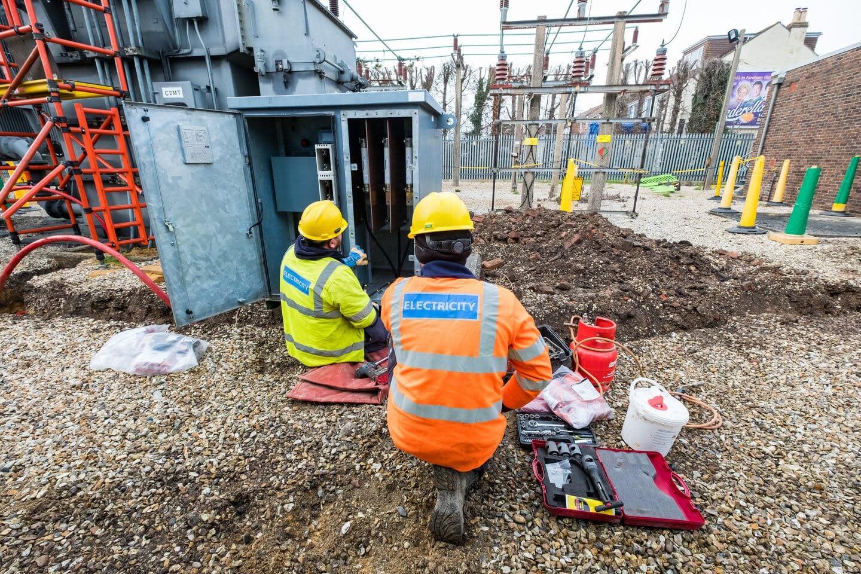 Workmen on a building site.