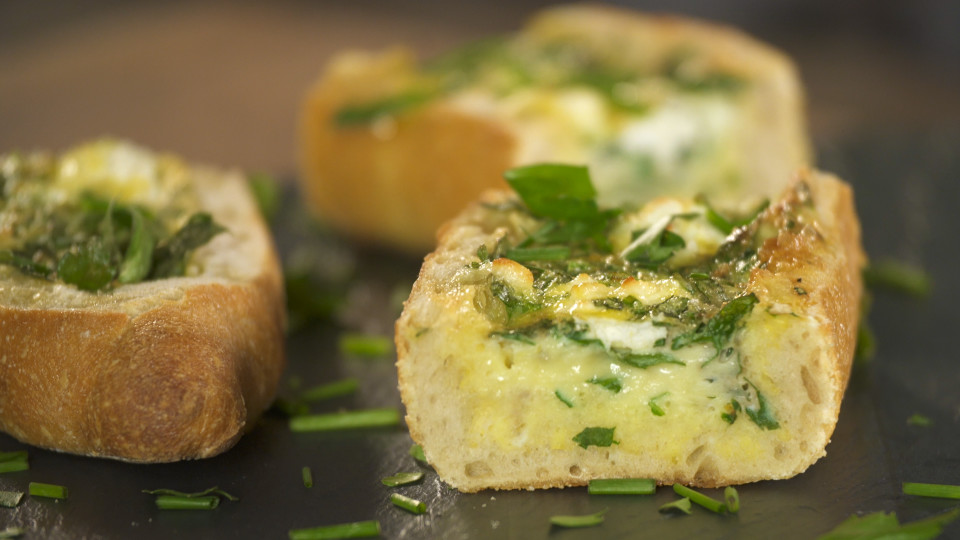 Herb and Goat Cheese Baked Egg Boats ~ Recipe | Tastemade