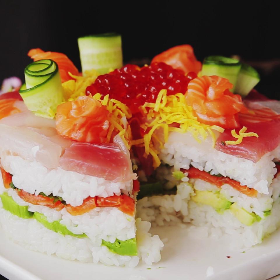 Celebration sushi cake recipe tastemade for Where to buy fish for sushi