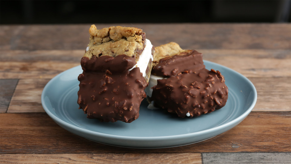 Chocolate-Dipped Ice Cream Sandwiches Recipe — Dishmaps