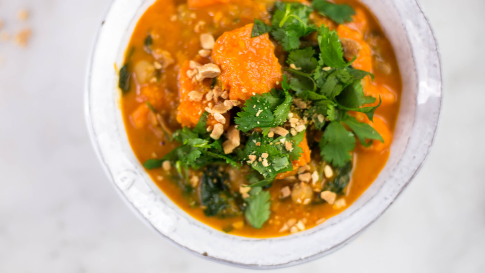Sweet Potato, Chickpea and Spinach Coconut Curry ~ Healthy AF