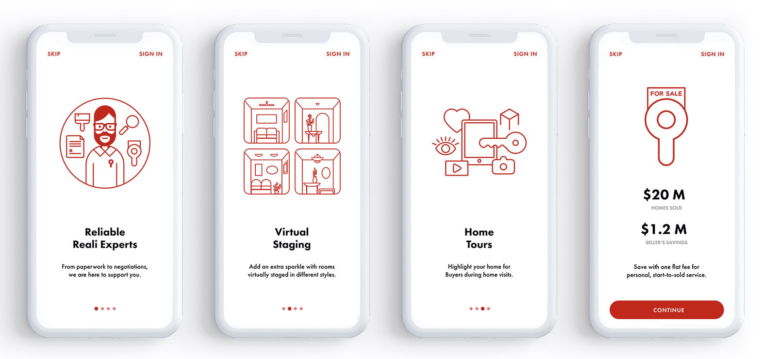 Reali phone app product screens: onboarding