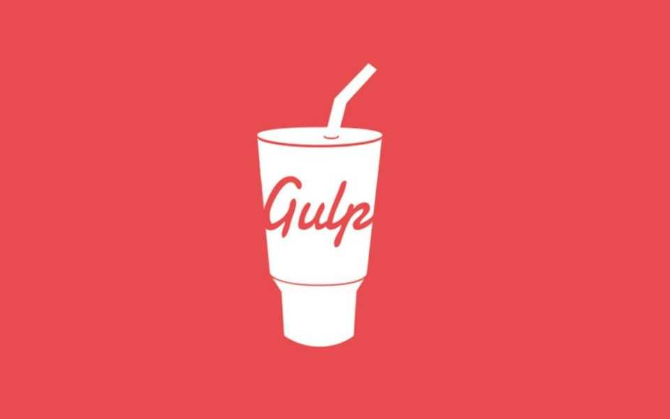 The gulp logo on a red background