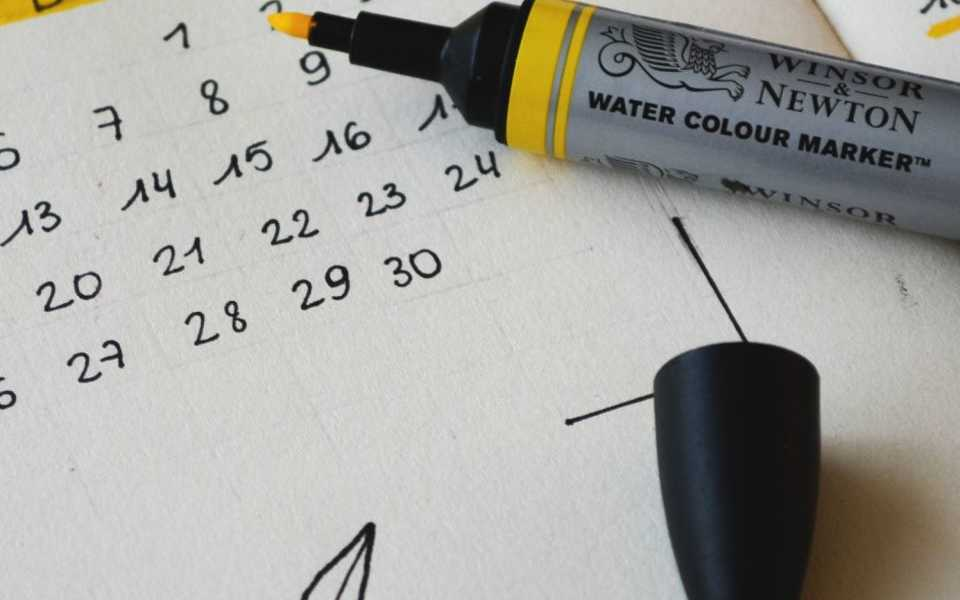 Calendar notebook with highlight marker