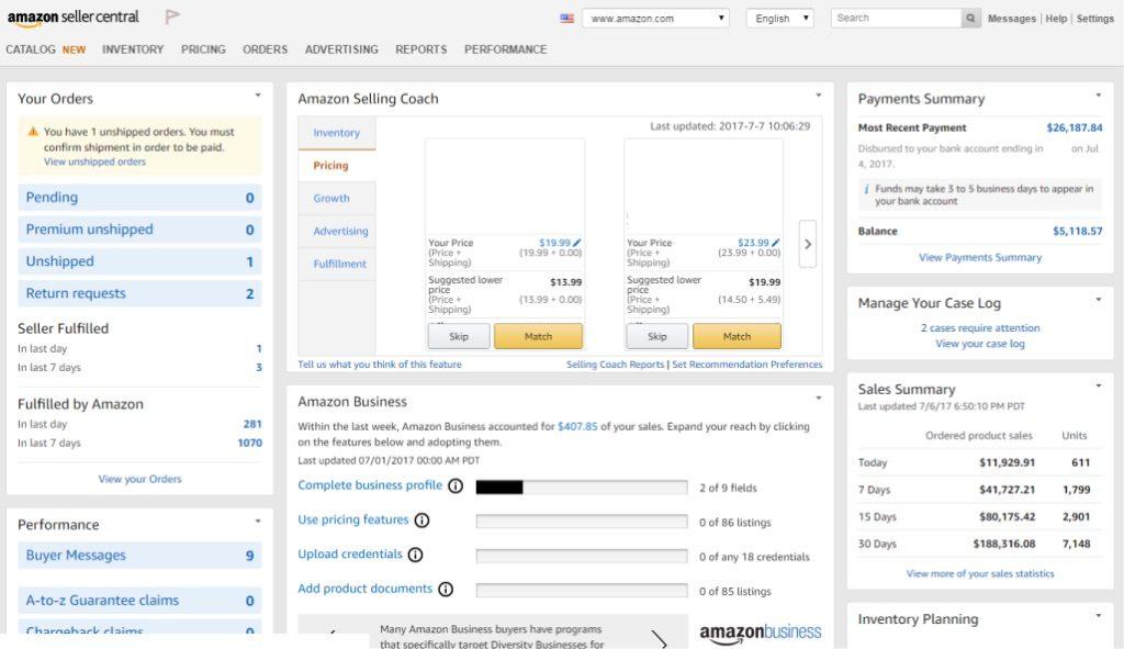 Amazon Seller Central interface