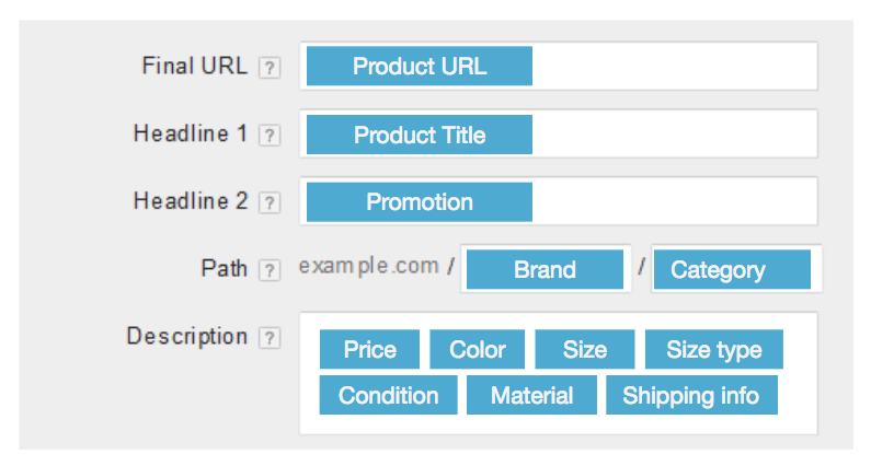 feed-driven AdWords text ads example