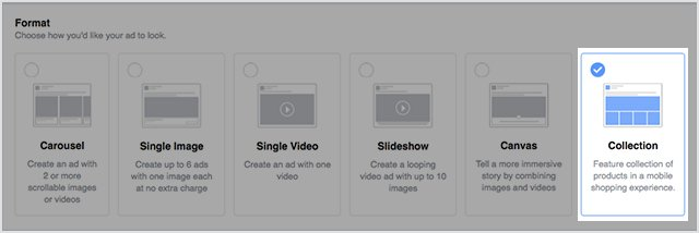 select the facebook collection mobile ad format from the list