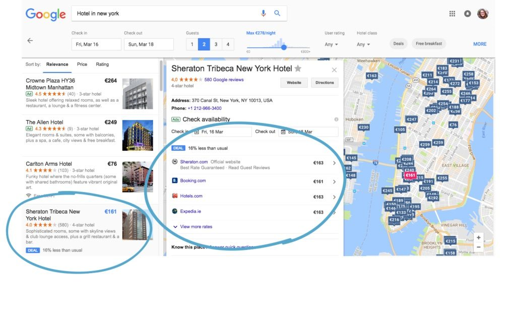 Google Hotel Ads Search example