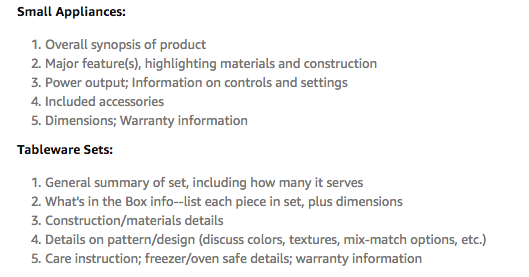 Amazon product data bullet points