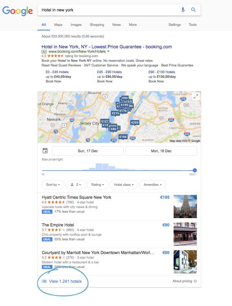 Google Hotel Ads generic search