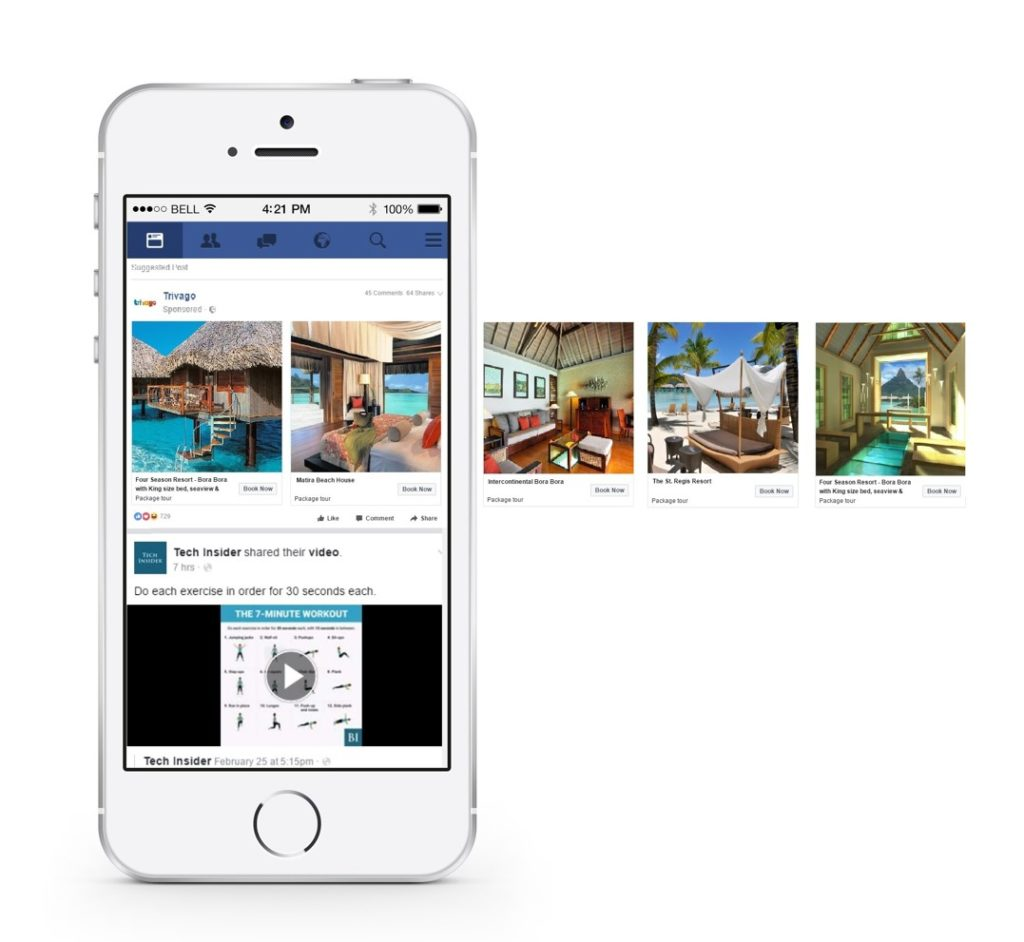How Facebook Dynamic ads for Travel will appear in a newsfeed