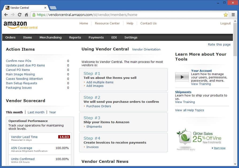 Amazon Vendor Central interface