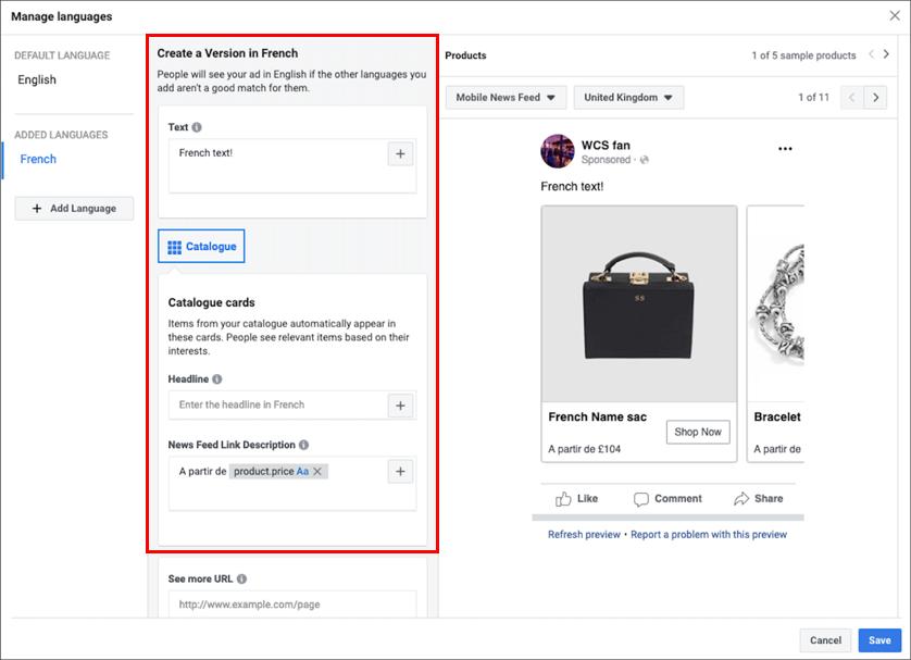 Facebook cross-border ecommerce - dynamic ads