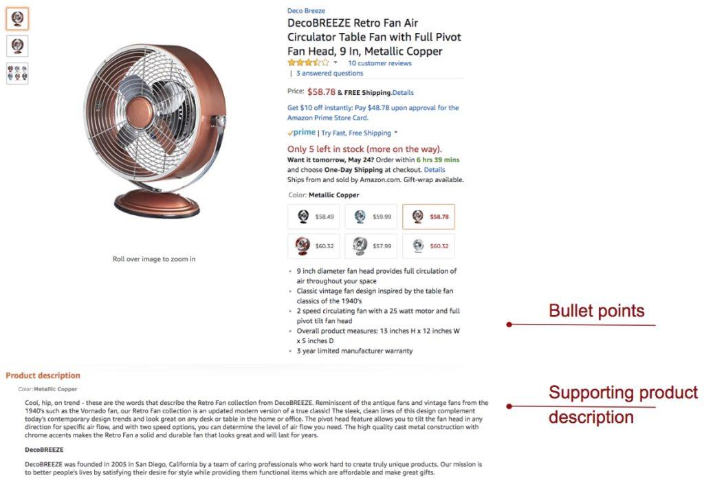 Amazon SEO product description