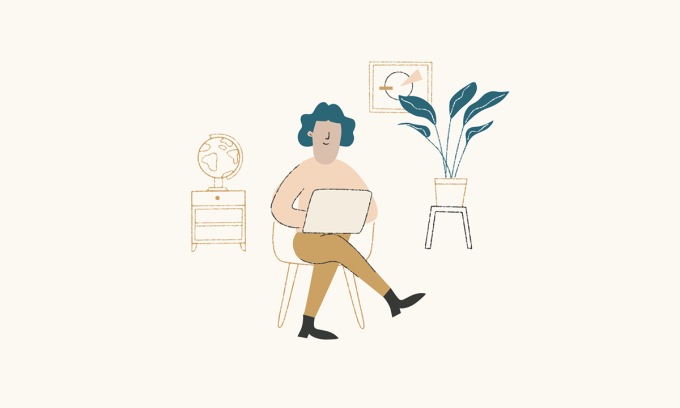 Illustration of a person sitting on a chair with a computer on their lap.