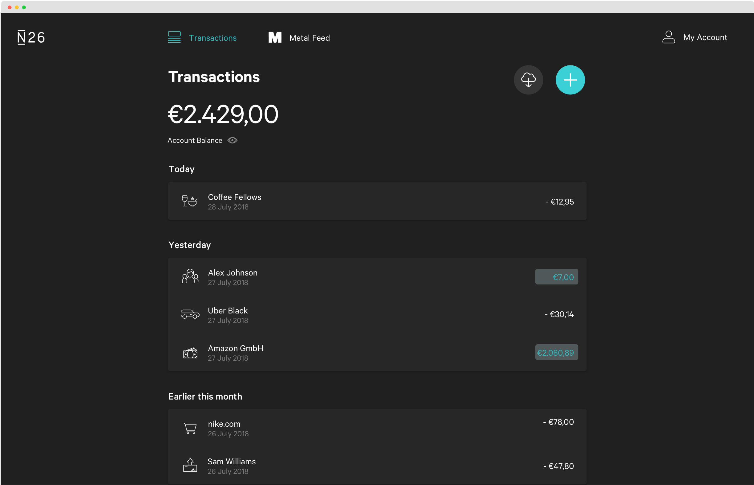 Screenshot of the Web App on Dark Mode