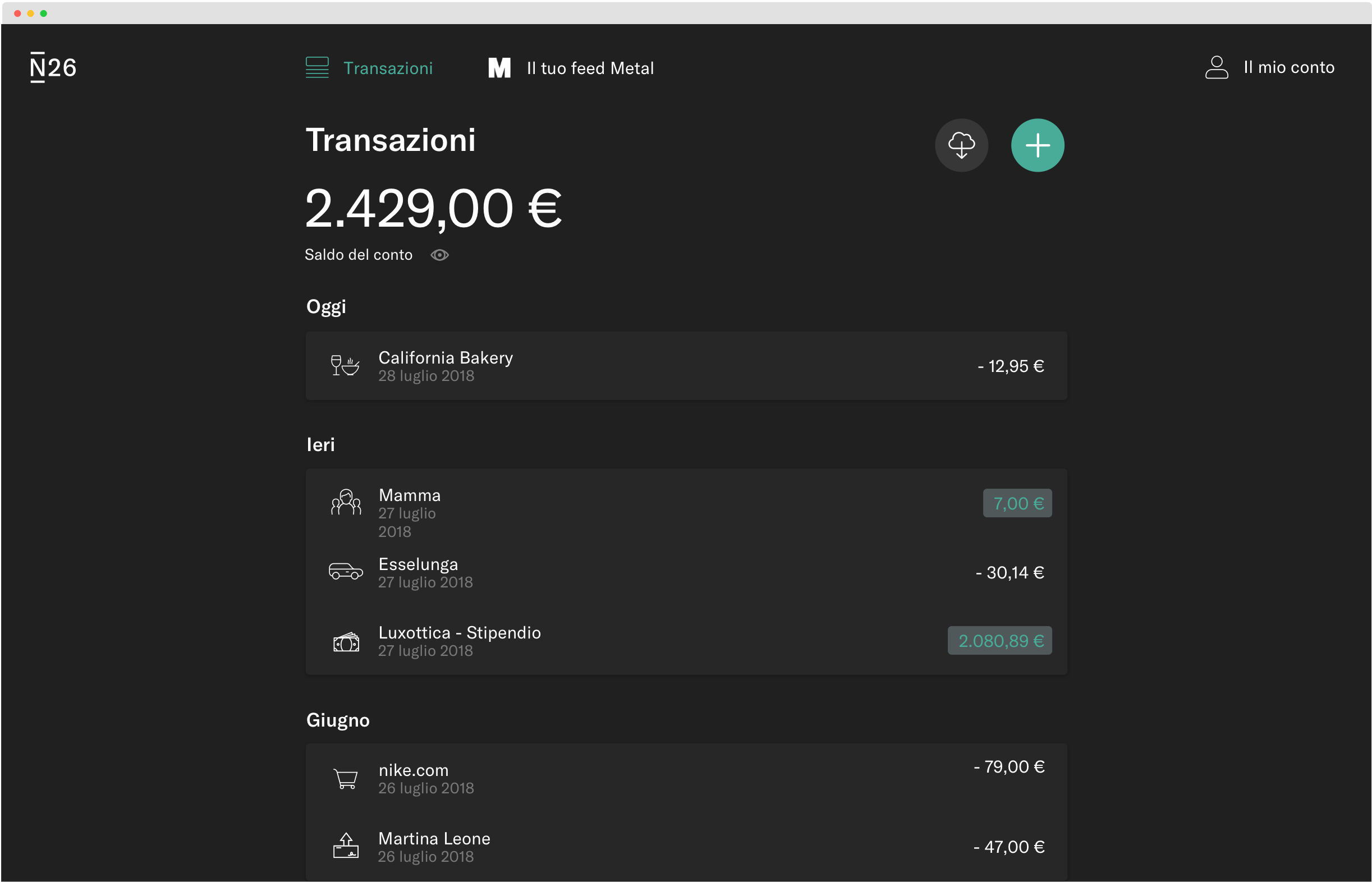 N26 - Tema scuro dell'app web.