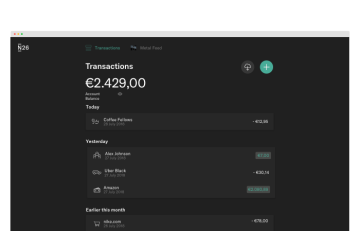 A screen capture of the N26 web-app in dark-mode.