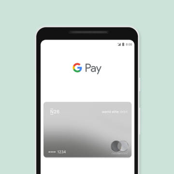 Google Pay with an N26 card on a smartphone screen.