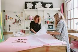 two women working in a art design studio.