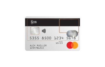 N26 Bank Account Standard free see-through Mastercard Debit.