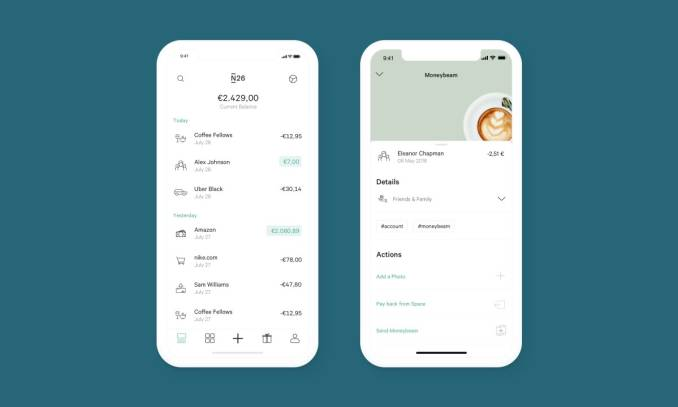 N26 app on a smart phone with a transaction history page.