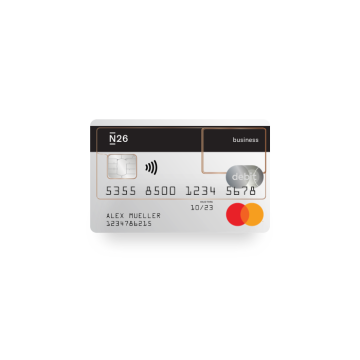 N26 Business Bank Account Free Standard see-through Mastercard Ddbitcard with cashback.