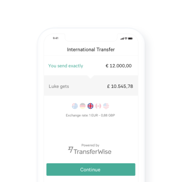 N26 Bank Account Transferwise example transaction.