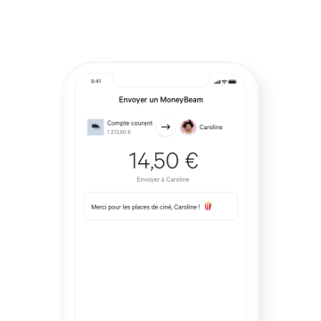 N26 Compte bancaire, exemple de transaction MoneyBeam.