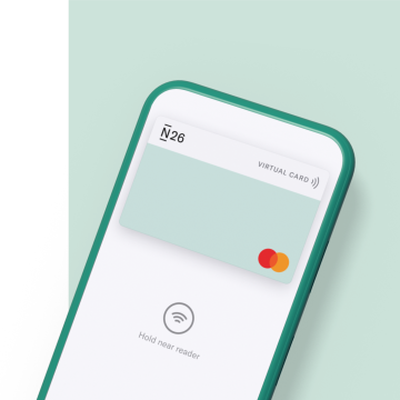 N26 banking app showing a virtual mastercard on a light green background.