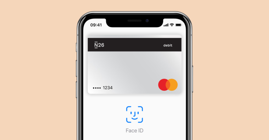 iPhone X with the N26 app showing the Apple Pay screen.