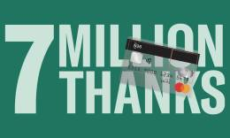 Green image with 7 million thanks text and N26 card on top.