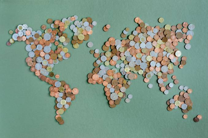 map of the world made with local coins.