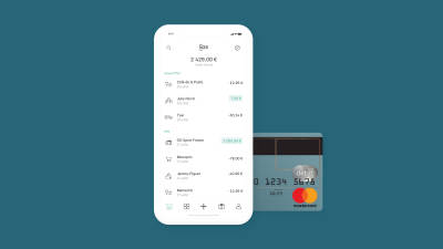 Transaction list and N26 transparent card.