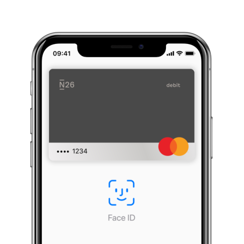 An iPhone X with the Apple Pay screen open on it.