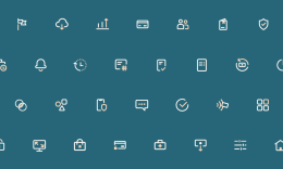 Difference icons on blue background.
