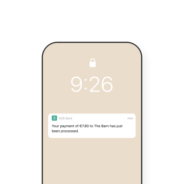 N26 Bank Account real time notifications about payments.