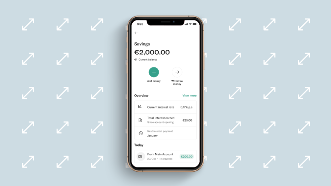 N26 EasyFlex Savings interface on Smartphone.