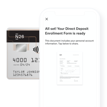 Get your paycheck early with N26 bank account.