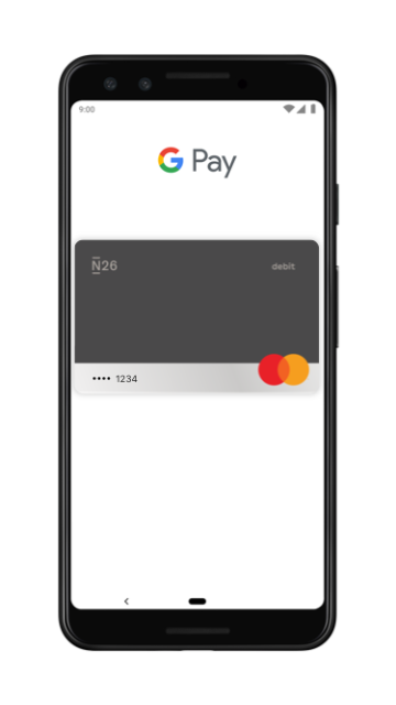 N26 Mastercard now works with Google Pay.