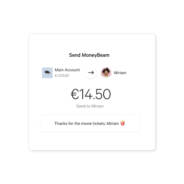 Customer sends 14.50 Euro via N26 MoneyBeam.