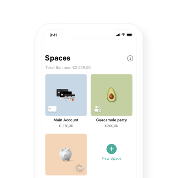 A phone screen with the Spaces screen of the N26 app open on it.