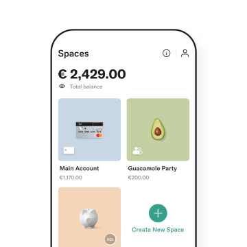 Smartphone with the N26 Spaces open on it.