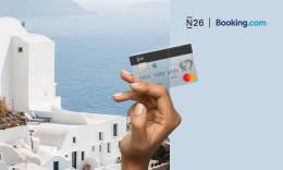 N26 and Booking.com partnership image that shows a beautiful view over the tranquil sea in Greece.