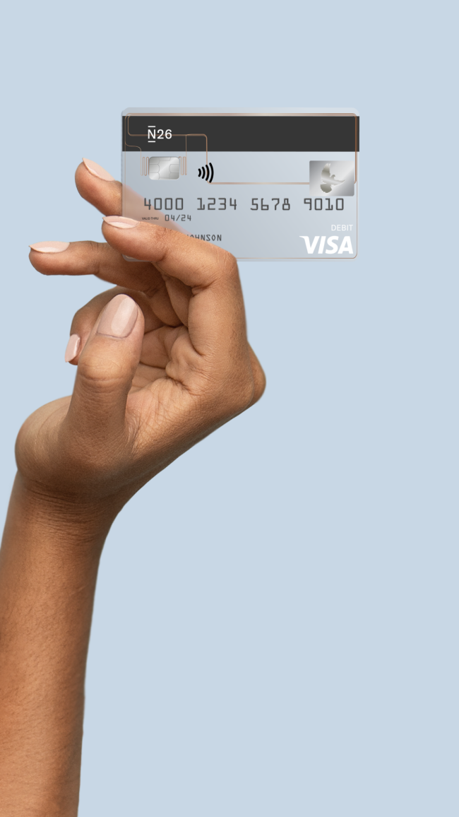 Visa Card + Hand Mobile Header Petrol (US).