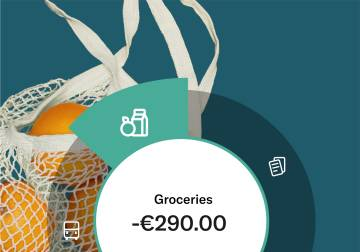 image of the statistics feature of N26 bank account showing the spend in groceries.