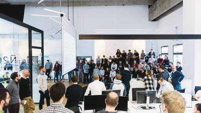 All-hands meeting at N26 office.