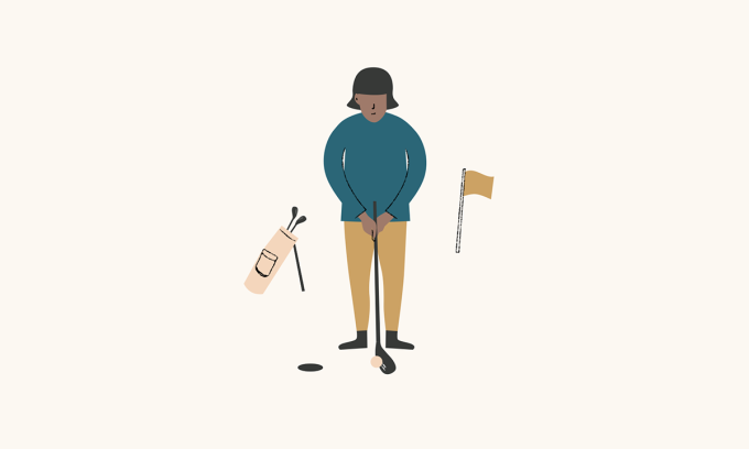 An illustrated person golfing.