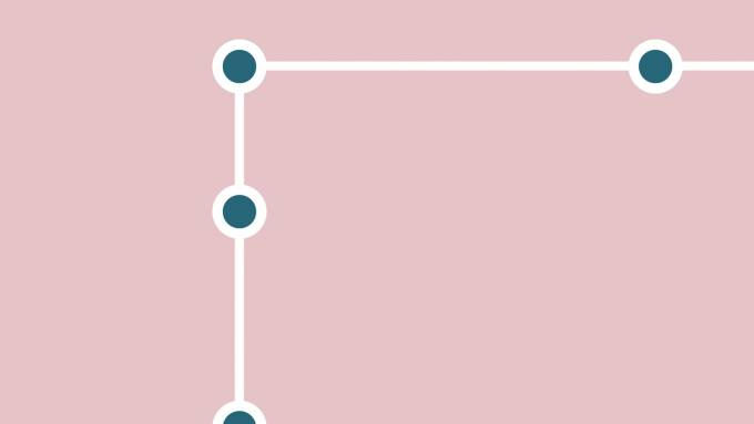 Connected teal dots on pink background.